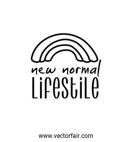 new normal lettering campaign with rainbow hand made line style
