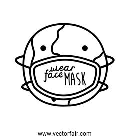 wear your mask lettering campaign in earth planet wearing face mask line style