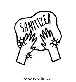 sanitizer your hands lettering campaign with hands and particles line style