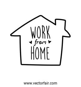 work from home lettering campaign in house line style