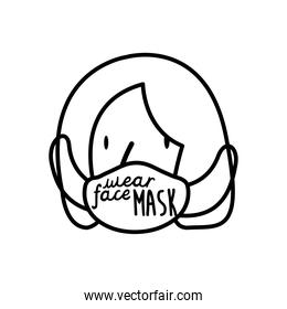 wear your mask lettering campaign with woman using medical mask line style