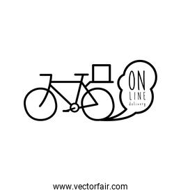 online delivery lettering campaign with bicycle line style