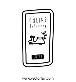 online delivery lettering campaign with smartphone and motorcycle line style