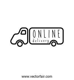 online delivery lettering campaign in truck line style