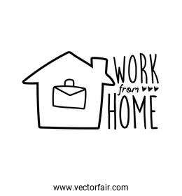work from home lettering campaign with portfolio in house line style