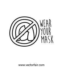 wear your mask lettering campaign with woman in denied symbol line style