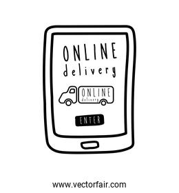 online delivery lettering campaign with truck in smartphone line style