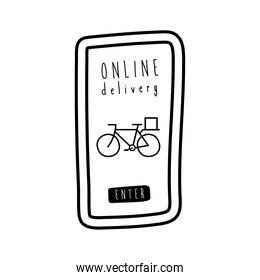 online delivery lettering campaign with bicycle in smartphone line style