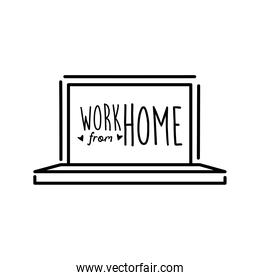 work from home lettering campaign in laptop line style
