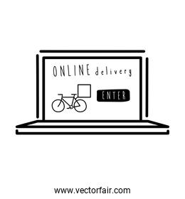 online delivery lettering campaign with bycicle in laptop line style