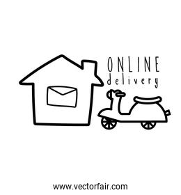 online delivery lettering campaign with house and motorcycle line style