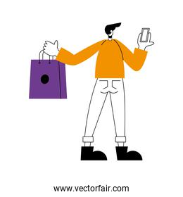 Online store and man cartoon holding smartphone and bag vector design