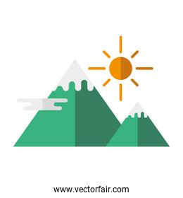 landscape of mountains and sun vector design