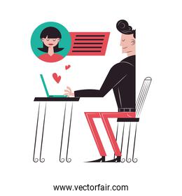 Romantic couple cartoons chatting with laptop vector design