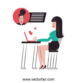 Romantic couple cartoons chatting with laptop at table vector design