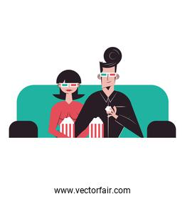 Romantic couple cartoons seeing 3d movie with glasses and popcorns vector design