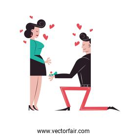 Romantic couple cartoons and marriage proposal vector design