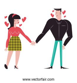 Romantic couple cartoons holding hands with hearts vector design