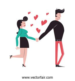 Romantic couple holding hands with hearts vector design