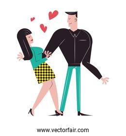 Romantic couple hugging with hearts vector design