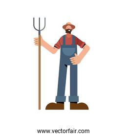 Farmer man with rake and overall vector design