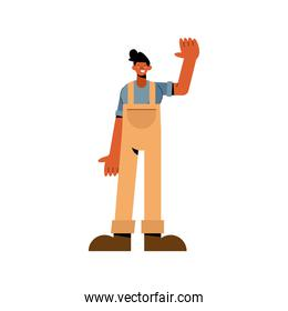 Farmer man with gloves and overall vector design