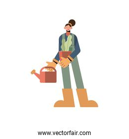 Farmer woman with watering can plant and overall vector design