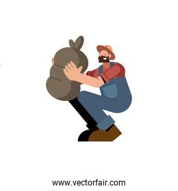 Farmer man with bag and overall vector design