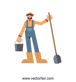 Farmer woman with bucket and shovel vector design