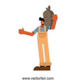 Farmer man with bag boots and overall vector design