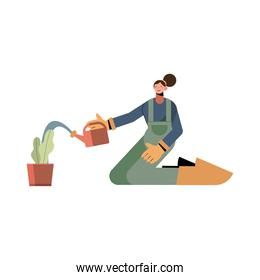 Farmer woman with watering can and plant vector design
