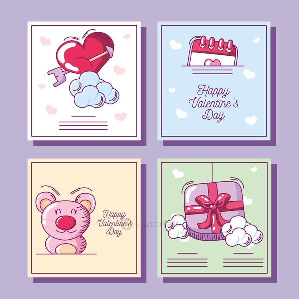 happy valentines, collection greeting cards with bear heart gift hand drawn style