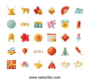 Chinese new year 2021 set of icons vector design