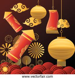 Chinese new year 2021 lamps fireworks and clouds vector design