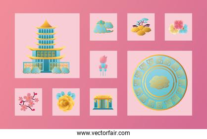 Chinese new year 2021 icon bundle vector design