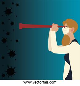 covid 19 virus woman with mask and telescope vector design