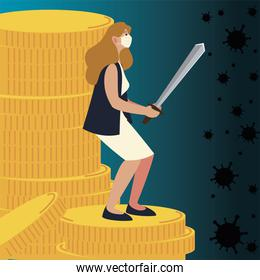covid 19 virus and woman with mask and sword on coins vector design
