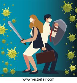 covid 19 virus businesswoman and businessman with sword shield and suitcase vector design