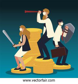 covid 19 virus businesspeople with sword shield and telescope on coins vector design