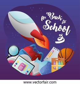 back to school spaceship backpack ball notepad and others supplies poster