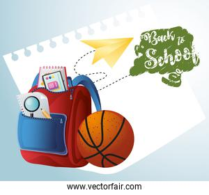 back to school backpack and ball sport with paper plane poster