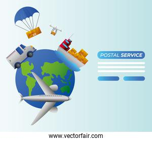 postal world service transport plane boat truck drone and parachute