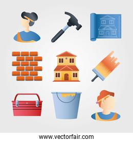 home remodeling icons set wall brick hammer brush color bucket plan
