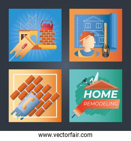 home remodeling, banner set with handyman blueprint repair tools