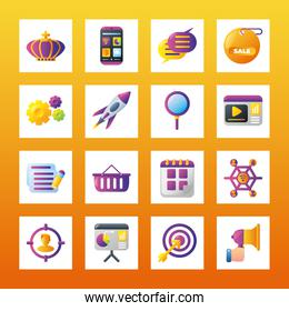 digital marketing smartphone apps message business calendar commerce square icons collection