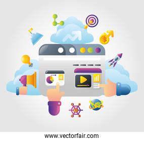 digital marketing website hand touch content screen strategy