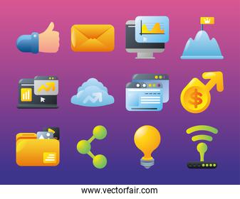 digital marketing icons with like email computer website share content money