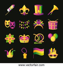 mardi gras icons collection fireworks hat masks drum beads flag crown flower and balloons