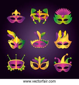 mardi gras icons set with different masks with feathers and jewelry