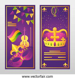 mardi gras banners with crown mask fiddle music pennants decoration